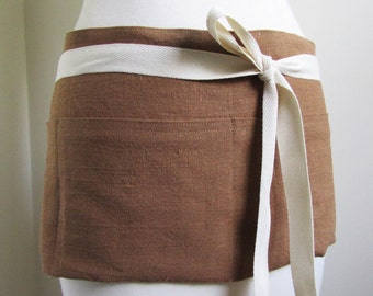 Linen Apron Half Apron Woman  Short European  Linen Ginger Brown Rustic linen work apron custom apron
