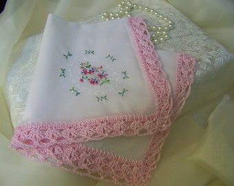Crochet Handkerchief, Hanky, Lace, Lacy, Embroidered, Pink, Girls, Ladies, Floral, Custom Embroidered, Personalized, Ready to ship