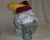 Pirate Hat Fascinator- Red and Gold Mini Tricorn Hat