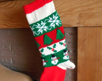 Christmas Stockings Knitted With Lining With Snowmen And Snowflakes