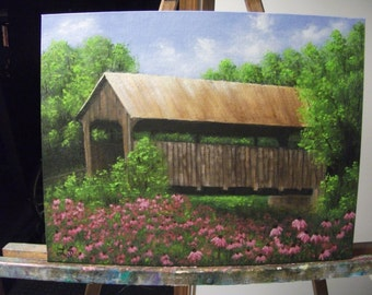 Covered Bridge With Spring Flowers, River, Summer, Field, Creek, Trees Original Landscape Oil Painting