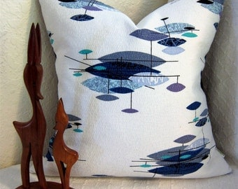 """Mid Century Modern Pillow Cover - Vintage Barkcloth - Jetsons Blues,Turquoise, Plum 17"""" x 17"""" pillow cover for 18"""" insert"""