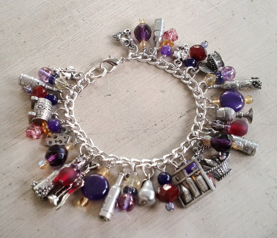 Cheer Charm Bracelets: Wine And Cheer Charm Bracelet By MistressJennie On Etsy