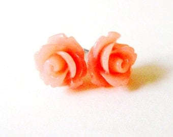 Melon Rose Stud Earrings- Surgical Steel or Titanium Post Earrings- 10mmBlack Friday Sale 20% Off