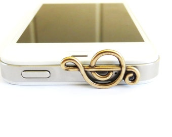 Music Note Cell & iPhone Dust Plug- Cellphone/ iPhone Accessories- Brass