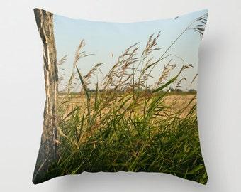 Wheat Cushion Case, Decorative Pillow Cover, Blue Man Cave Sofa Accent, Gift for Farmer, Handmade In Canada, Rustic Office Throw Cushion