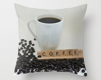 Coffee Addict Pillow Cover, Throw Cushion Case, Man Cave Java Decor, Kitchen Chair Art, Boutique Decoration, Coffee House Sofa Accent