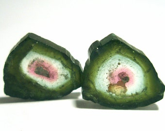 Watermelon Tourmaline Cabochon Small Sliced Pair for Earrings True Natural Color Gem Stone - Perfect for Stacking Rings