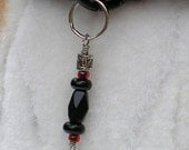 Tribal linear stack - dog collar charm or people pendant, unisex handmade jewelry black and red, zipper pull