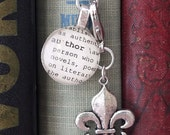 Author or Writer Bookmark with Fleur-de-lis or Skeleton Key  Daughter, Sister, Aunt, Mother, Cousin, Bridesmaids by Kristin Victoria Designs