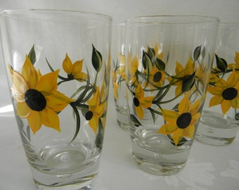 Beverage glasses, drinking glasses, painted glasses, hand painted glasses with sunflowers, sunflowers