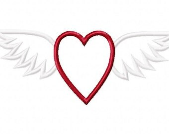 Heart with Wings Embroidery Machine Applique Design 15061