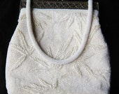 Vintage 50s White Beaded Tropical Bamboo Evening Bag Handbag Purse