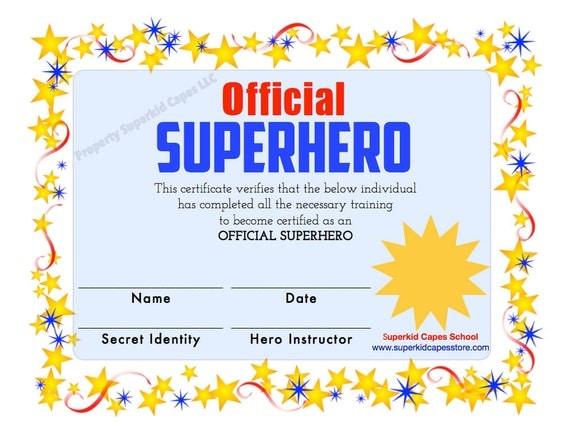 superhero certificate instant printable download by