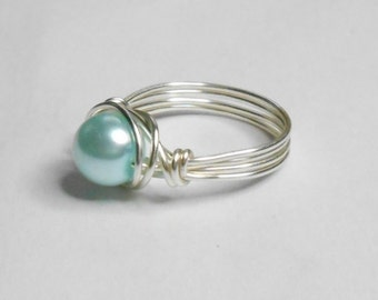 Blue Pearl Glass Silver Handmade Wire Wrapped Ring Sizes 1-14