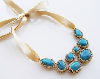 Turquoise Statement Necklace, Turquoise Bib Necklace, Gold Turquoise Necklace, Turquoise Wedding Jewelry, Chunky Turquoise Necklace