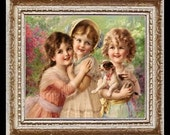 Girls With Their Puppie Miniature Dollhouse Art Picture 6626