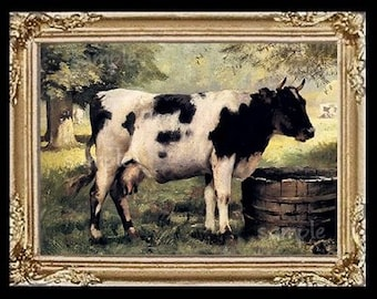 Black And  White Cow Miniature Dollhouse Art Picture 6754