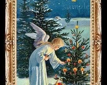 Christmas Angel Miniature Dollhouse Art Picture 1631