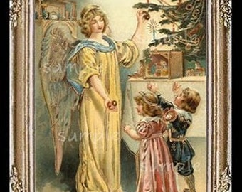 Vintage Christmas Angel Miniature Dollhouse Art Picture 6251