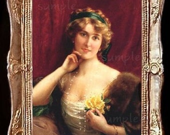 Victorian Lady With A Rose Miniature Dollhouse Art Picture 6632