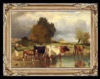 Cows Miniature Dollhouse Art Picture 6709