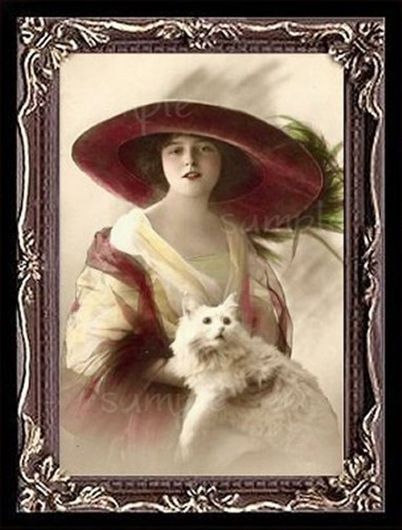 Vintage Lady With A White Cat Miniautre Art Picture 1023