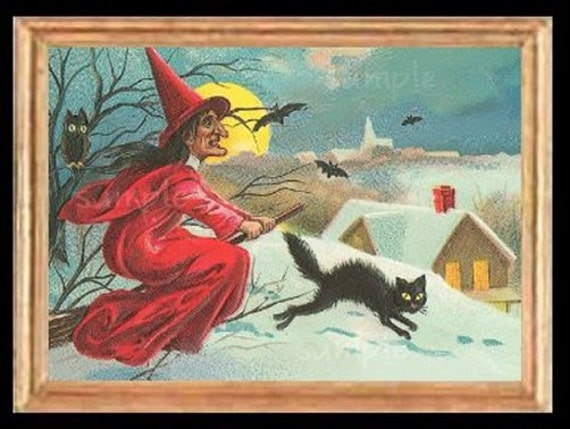 Halloween Flying Witch Miniature Dollhouse Art Picture 1548