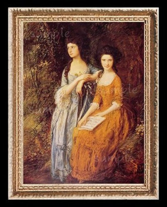 1700's Sisters Miniature Dollhouse Art Picture 6700