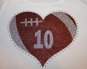 Glitter and Bling Football Heart Shirt--Perfect for supporting your favorite player