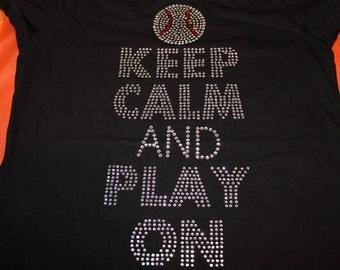 Keep Calm and Play On Baseball Shirt, Baseball Mom Shirt, Baseball Mom Tank, Baseball Shirt, Baseball, Softball Mom Shirt, Bling Shirt