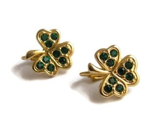 Vintage Avon Clover Clip On Earrings Vintage Rhinestone Earrings Gold Tone Green Rhinestones St Patrick's Day Jewelry Irish