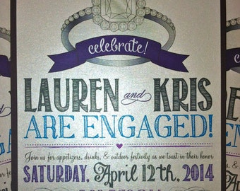 Engagement Ring Vintage Themed Engagement Party Invitation