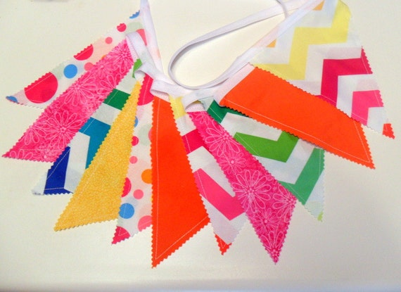 Chevron Party Banner Fabric Bunting Rainbow Chevron and Polka Dots Photo Prop