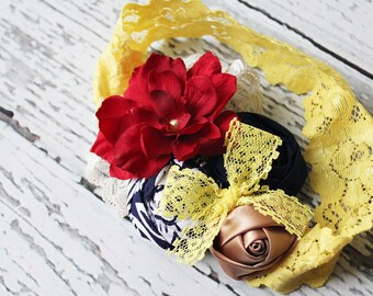 Hard to Miss- Navy, red and yellow rosette, silk flower and lace headband