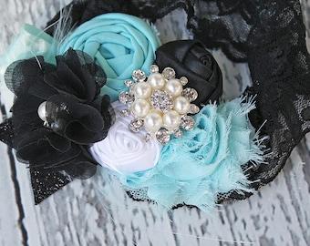 Just Go Lightly- headband aqua blue Audrey Hepburn  inspired bow