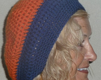 SALE: Women Crochet Hat Original Blue and Orange Team Winter Accessories