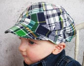 Baby boy hat toddler hat blue green plaid cap boys patchwork hat - Lucky Plaid