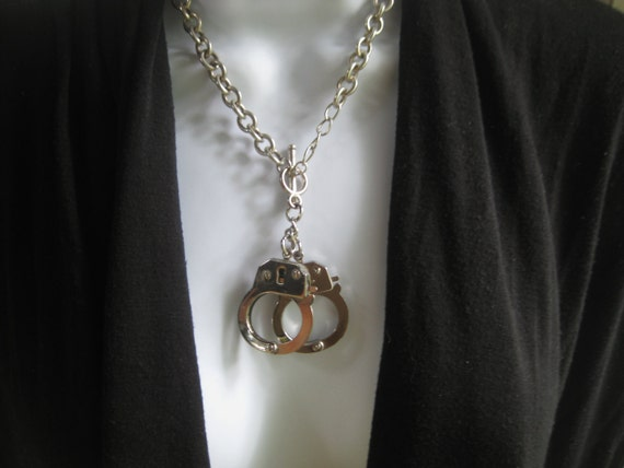 Upcycled Handcuff Necklace Silver Tone Metal Chain Small Working Handcuffs no Key Needed Free Shipping