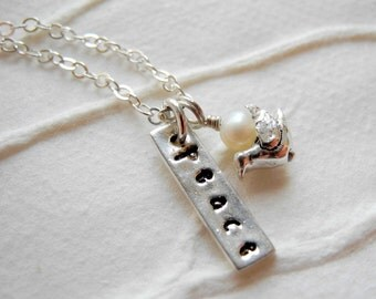 Sterling Silver Necklace Inspiration Peace Bird White Pearl Oxidized Simple Jewelry