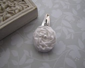 Petite Satin Rose . snap clip . toddler hair accessory . white
