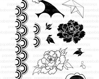 Oriental Zen Stamp Set - Paperbabe Stamps - Clear Photopolymer Stamps - For paper crafting and scrapbooking.