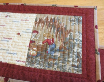 Mug Rugs/ Snack Mats/ Small Placemats, Tom and Huck, Set of Two