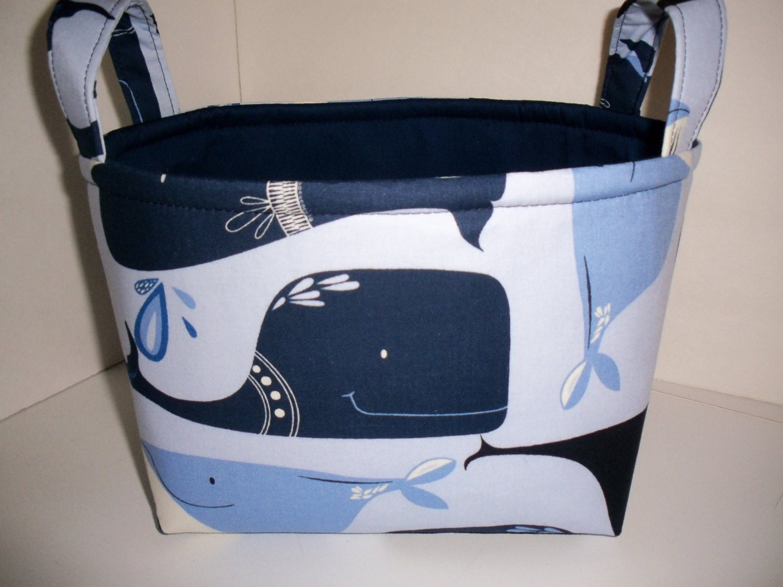 Navy Blue Whales Nautical Fabric Organizer Bin Basket