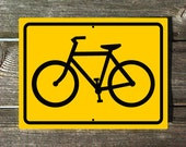 Bike Sign Yellow Aluminum Sign with Black Lettering
