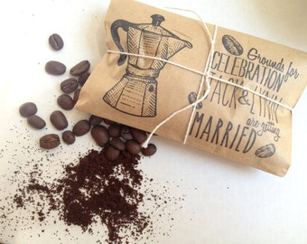 Bridal Shower Favors. Set of 30 with custom stamp. Freshly roasted coffee-Grounds for celebration!