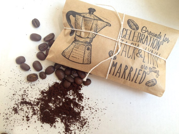 RESERVED // Bridal Shower Favors. Kitchen Shower Theme Favors. Freshly roasted coffee set of 17 RUSH