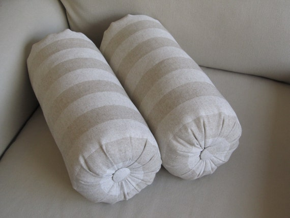 PAIR -Tone On tone stripes accent lumbar round bolster pillows 6x14 6x16 6x18 6x20 6x22