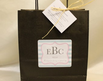 Wedding Welcome Bags Style Guest Bags Mint and Pink with Grey Wording and Natural Raffia Hotel Guest Bag Destination Wedding Welcome Bag