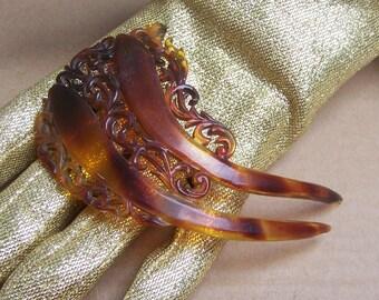 Vintage hair comb Victorian faux tortoiseshell Spanish comb hair accessory hair barrette hair pin hair slide hair jewelry hair ornament